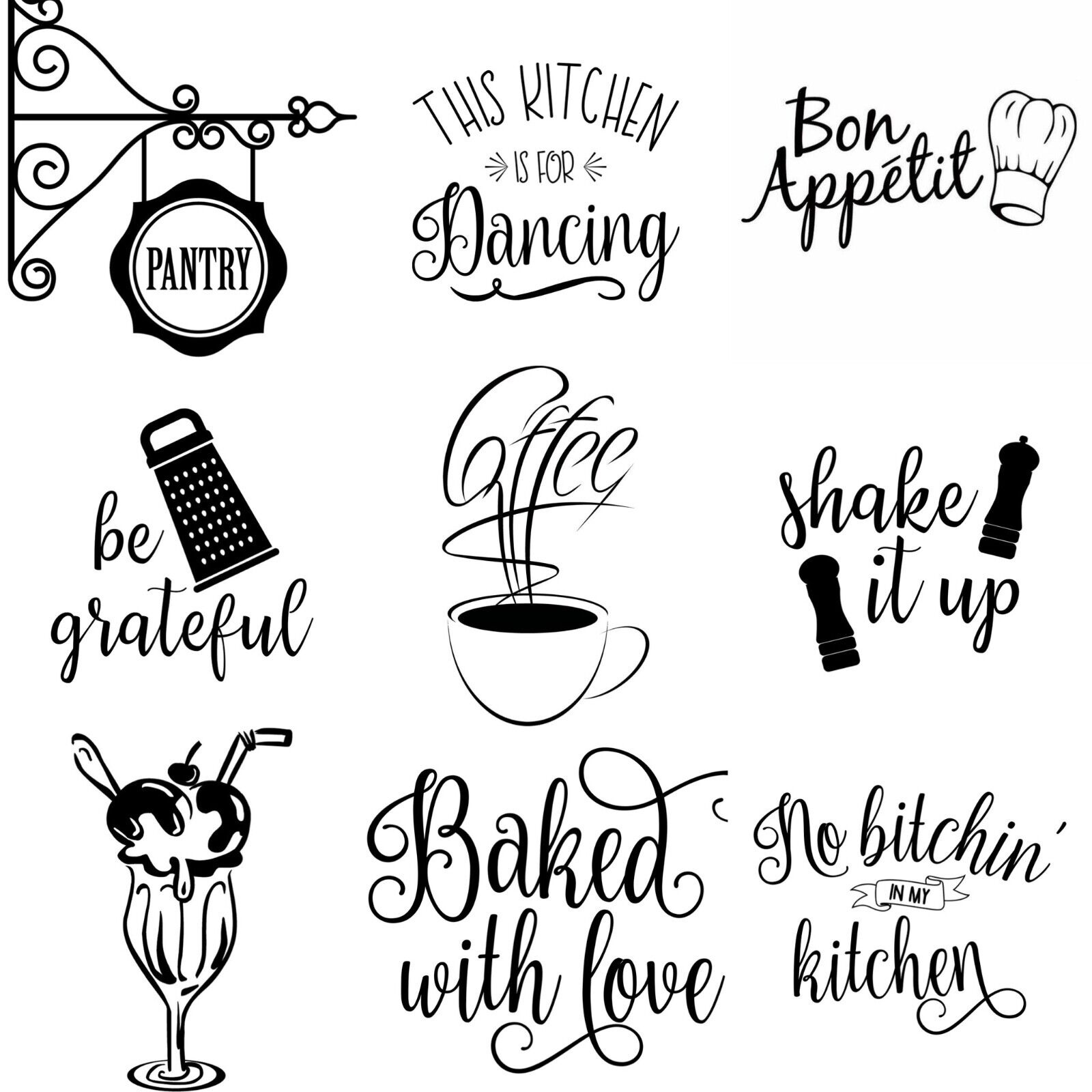Home Decoration - Wall art stickers for kitchen, removable Home decor, quality vinyl decal quotes
