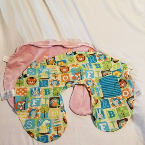 2 Boppy Pillow Covers Soft Pink Velour Velvet and Forest Friends With Pocket
