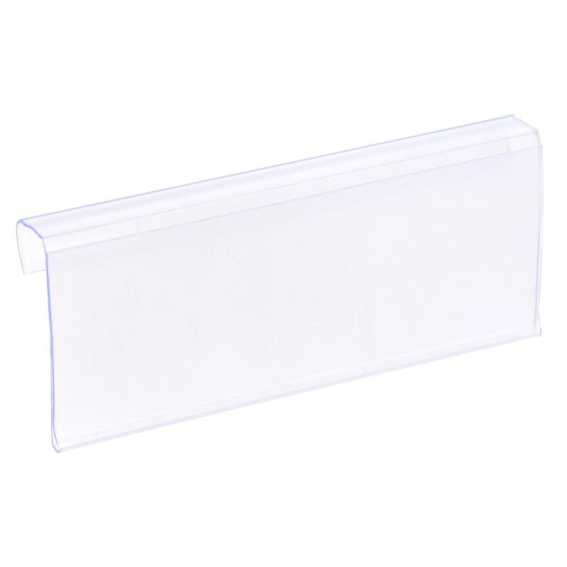 Label Holder L Shape 100x40mm Clear Plastic for Wire Shelf, Pack of 30