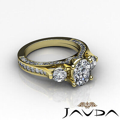 4 Prong Setting 3 Stone Oval Diamond Engagement Cathedral Ring GIA H SI1 2.3 Ct 8