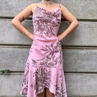 Jennifer Taylor Pink/brown Floral Cowl Dress Flowy Evening Cocktail Vintage (10)