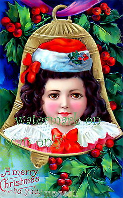 Vintage Image~Brundage~ Pretty Girl in Bell w Holly~NEW Christmas Note Cards