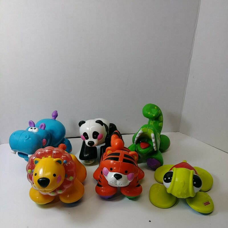 Fisher Price Baby Amazing Animals Lion Hippo Tiger Panda clicker rattle Toy
