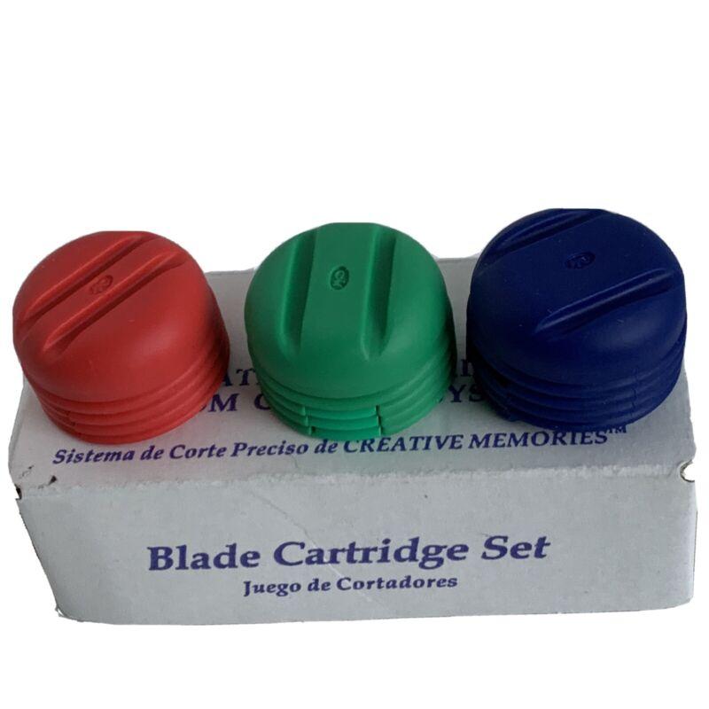 CREATIVE MEMORIES CUSTOM CUTTING SYSTEM BLADE CARTRIDGE SET Blue Green Red