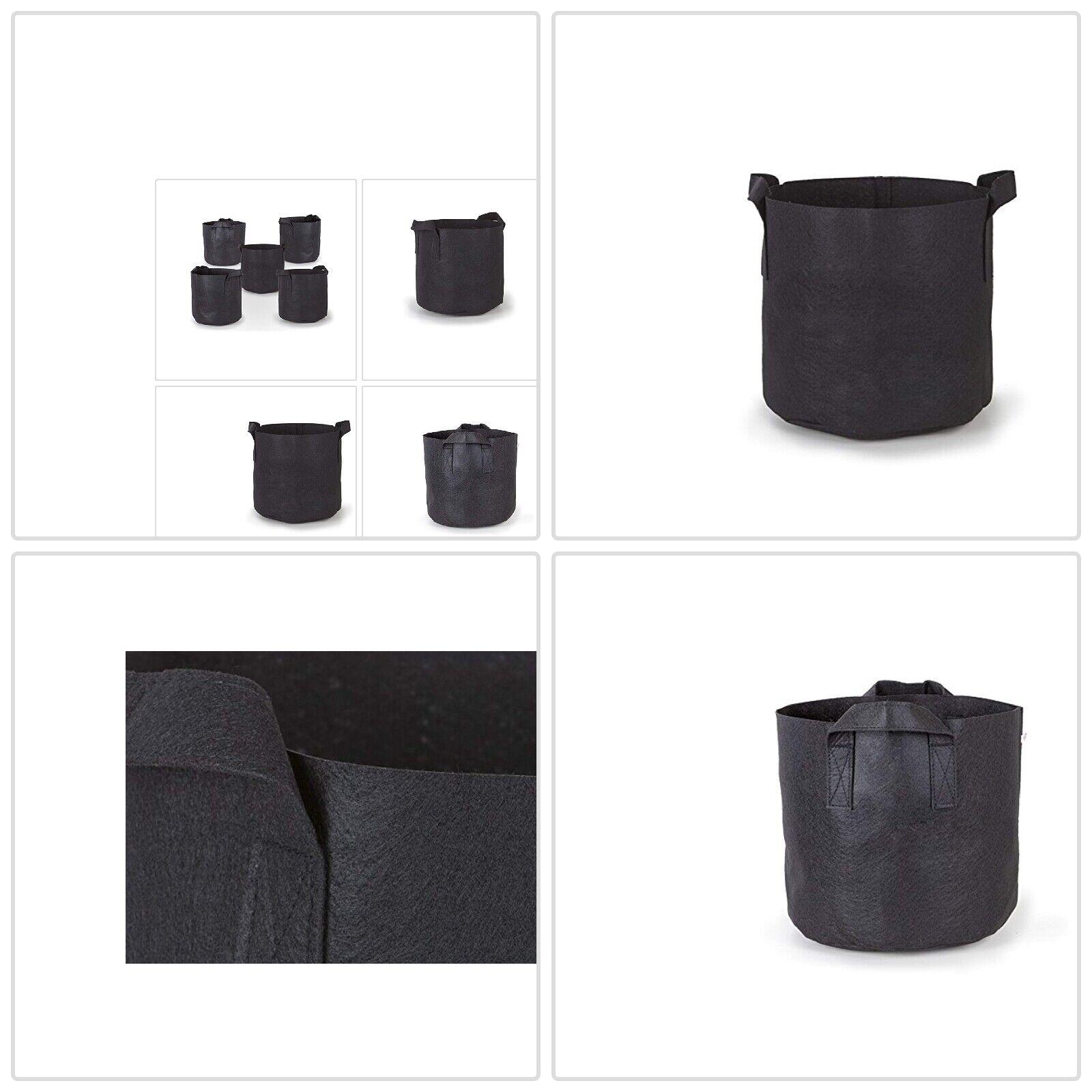 247Garden 5-Pack 7 Gallon Grow Bags/Aeration Fabric Pots w/H