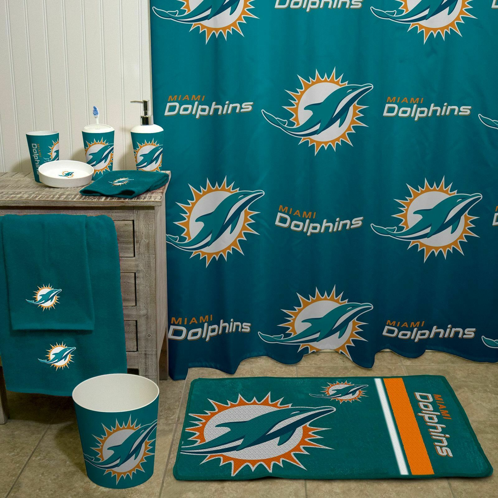 "Miami Dolphins Shower Curtain NFL 72"" x 72"" Bathroom Bath ..."