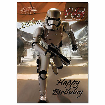 722; Personalised Birthday card; Star Wars 7 The Force Awakens Stormtrooper