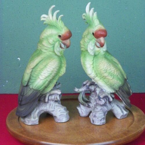 Vintage Ceramic Pair Cockatoo Bird Sculpture Andrea By Sadek Japan Figurine