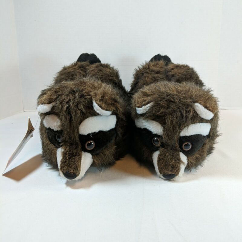 RACCOON Handcrafted Fake Fur Adult Slippers Lullabies Canadian Critters With Tag
