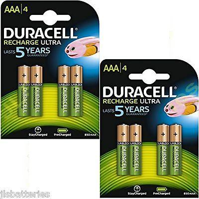 8 x AAA Duracell  Rechargeable 850 mAh  Batteries 850mAh Ultra pre Charged  - Duracell Pre-charged