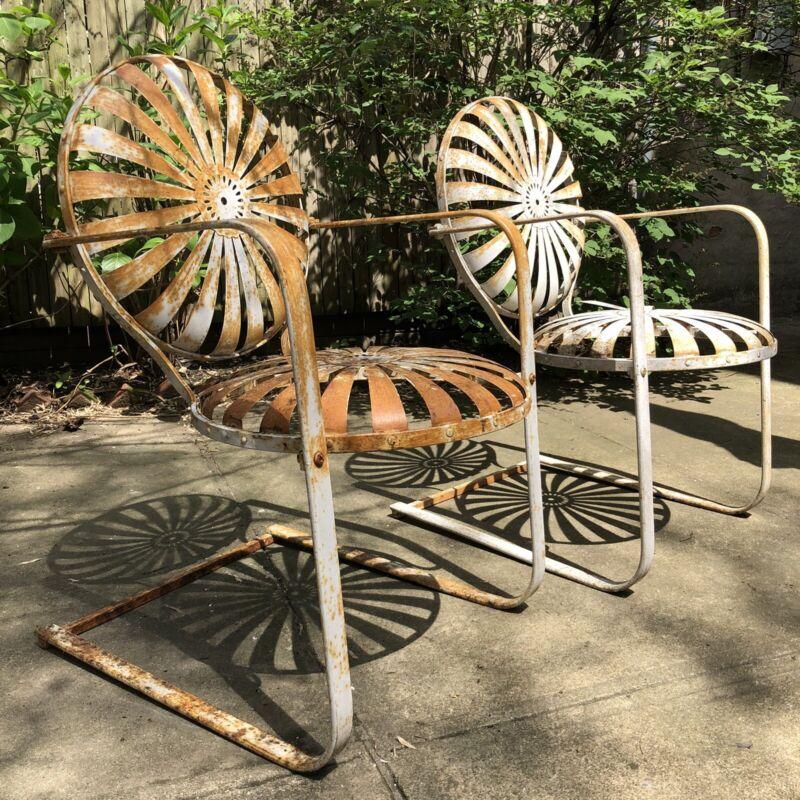2 Vtg Antique 1930s Francois Carre Metal Patio Garden Chairs Starburst Pinwheel