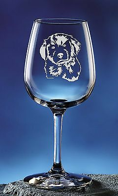 Personalized Golden Retriever Pet Dog Etched Wine Glass 12.75oz