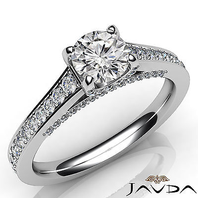 Bridge Accent Pave Setting Round Cut Diamond Engagement GIA I VS2 Ring 1.46 Ct