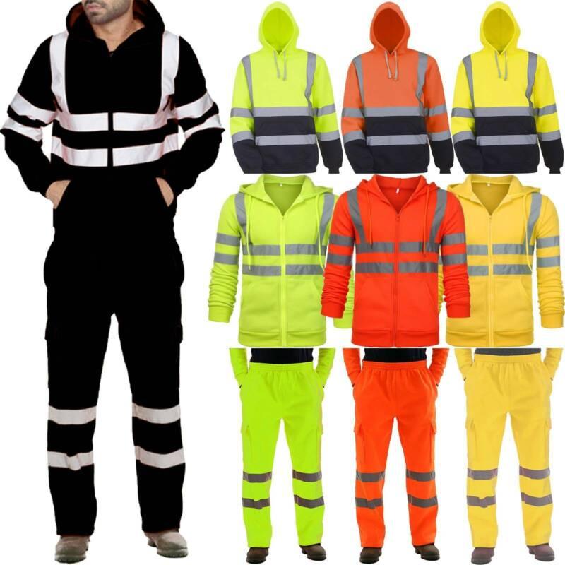 Hi Vis Viz Visibility Safety Work Reflective Hoodie Coat Jac