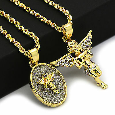 """14k Gold Plated High Fashion 2 pcs set of Angel With 2mm 30"""" and 24"""" Rope chain"""