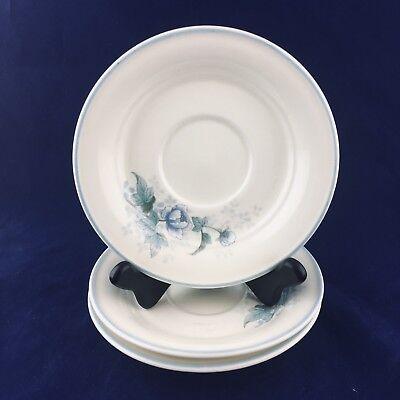 "2 NORITAKE Keltocraft Peonytime Ireland 9100 Blue Flowers 6"" Round Saucers"