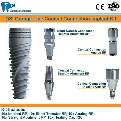 10x Dsi Dental Implant Conical Connection Nobel Active Hex Full Set Rp Iso