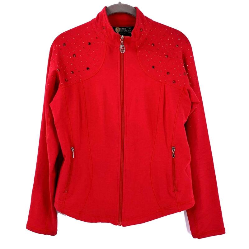 CHRISTINE ALEXANDER Red Crystal Studded Jersey Zip Jacket Size Small