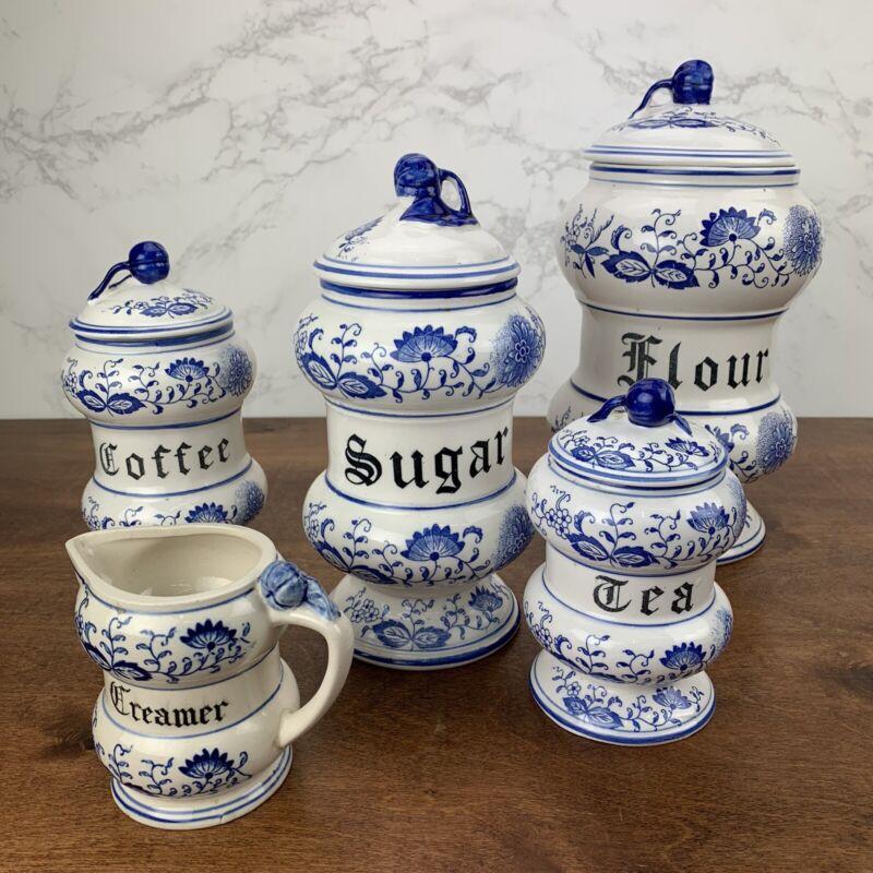 Vtg Arnart Japan BLUE ONION Danube Canister Set - Flour, Sugar, Coffee, Tea