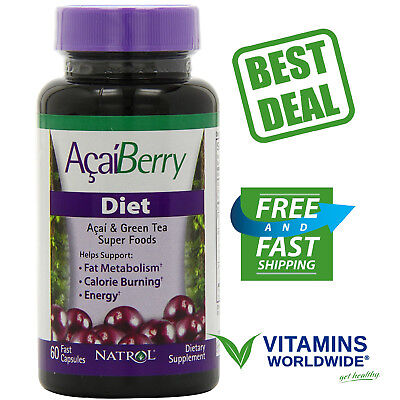 Natrol AcaiBerry Diet 60 Veggie Caps Green Tea Superfood Weight Management - Green Tea 60 Veggie Caps