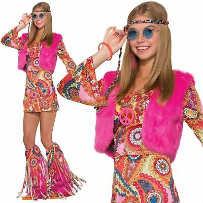 s Flower Fancy Dress Outfit Hippy Fur Rever Groovy Costume (Groovy Outfit)