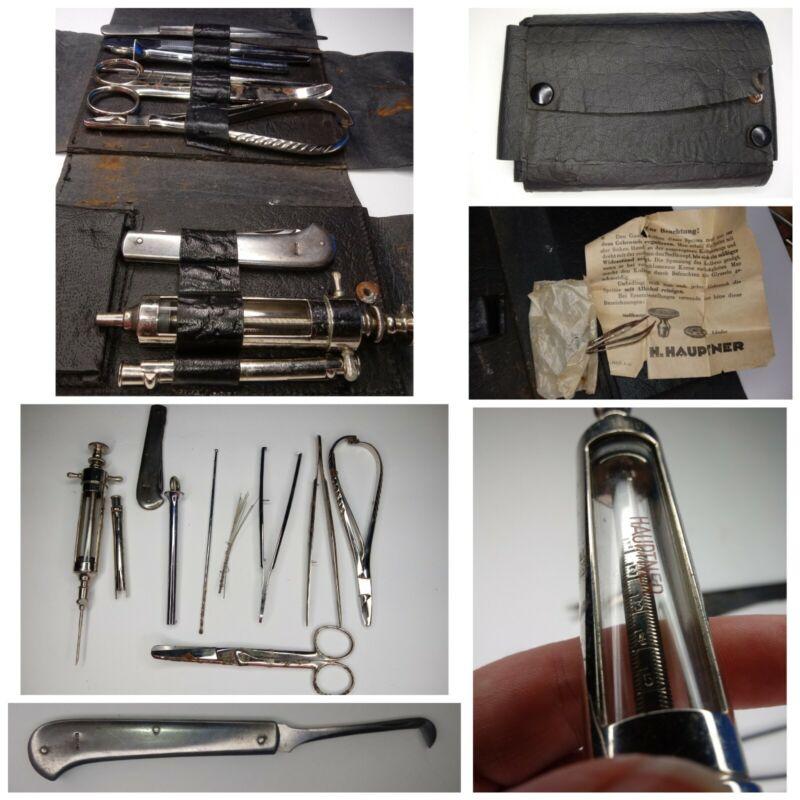 Antique Hauptner Medical Surgical Kit Folding Scalpel in Case Syringe 11 Set
