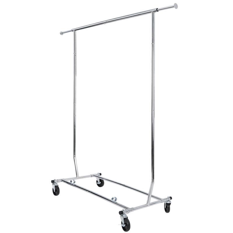 Adjustable Rolling Clothes Rack Single-Bar Hanging Garment Heavy Duty Hanger