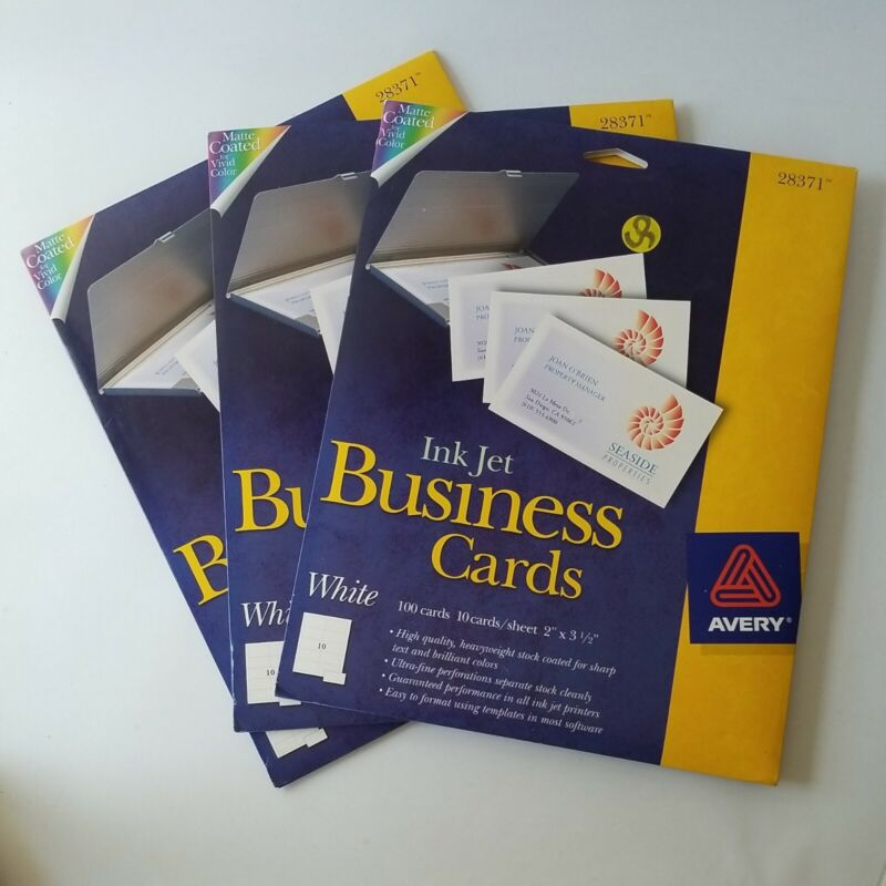 3 Packs Avery Ink Jet Business Cards White 10 Sheets 100 Cards 2x3.5""