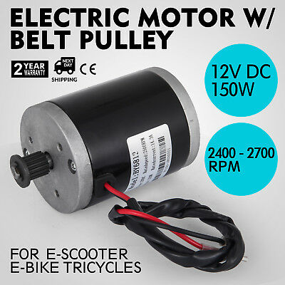 Electric Motor 12v Dc Motor With Belt Pulley 150w Velotaxi Quad Bike E-board