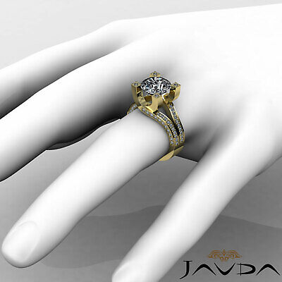 Trellis Style Split Shank Round Cut Diamond Engagement Pave Ring GIA I VS2 2.5Ct 9