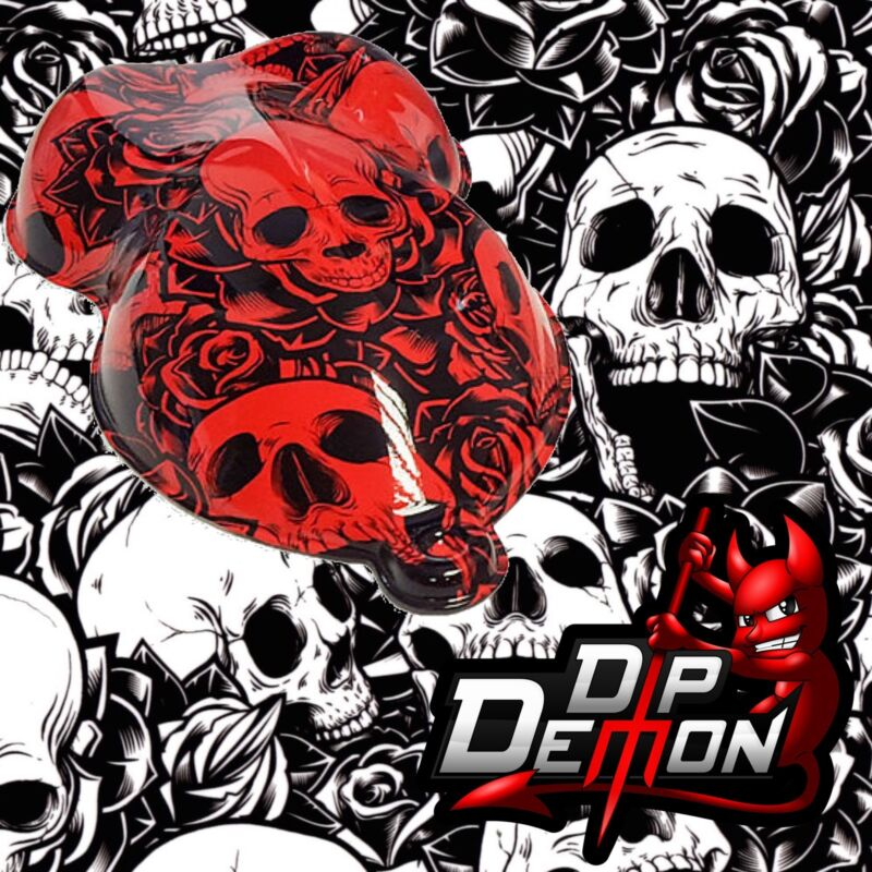 HYDROGRAPHIC FILM SKULLS AND ROSES TRANSPARENT WATER TRANSFER  HYDRO DIPPING
