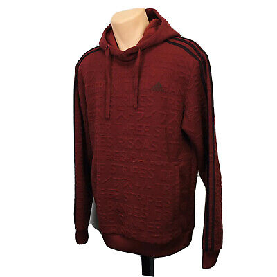 Adidas 3 Stripes Embossed Hoodie Pullover Sweater (Men's Size M) Maroon