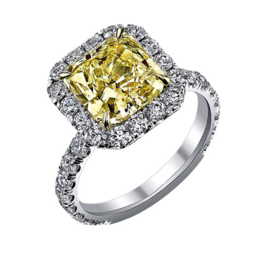 18k Gold Engagement Ring 2.95 Carat Cushion Cut Fancy Yellow GIA Diamond