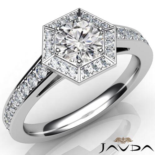 Round Diamond Engagement GIA D VS2 Platinum 950 Hexagon Halo Pave Set Ring 1ct