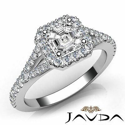 French Set Pave Split Shank Halo Asscher Diamond Engagement GIA G VVS2 Ring 1 Ct