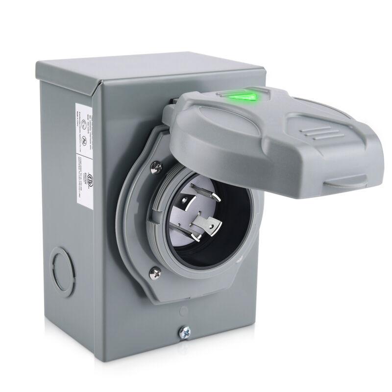 30 Amp Generator Power Inlet Box Weatherproof,for 4 Prong Generator Cord Outdoor