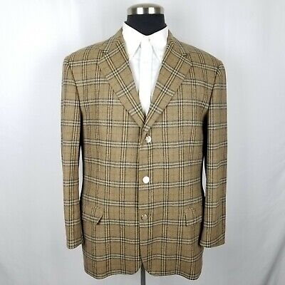 Burberry Relaxed Nova Check Gold Button Wool Sports Coat Blazer Jacket Size 43L