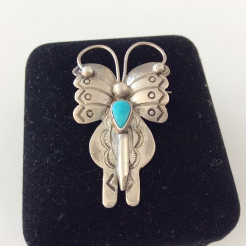 Silver NAVAJO Stamped Butterfly ?Dragonfly ?Brooch Pin Unsigned 4.1 Gram