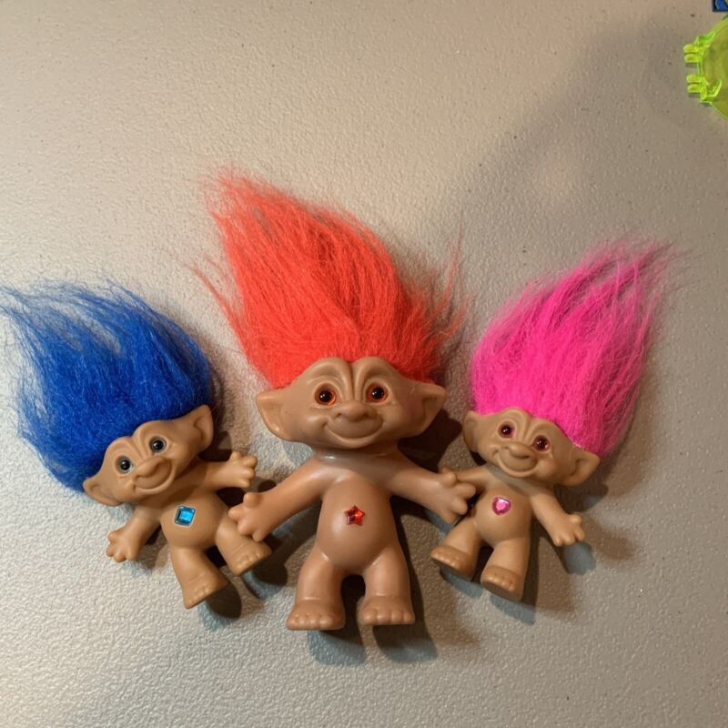 Vintage Ace Novelty Treasure Troll Doll Pink Red Blue Hair & Jewel Gem Lot