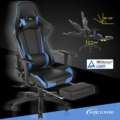 Office Gaming Chair Racing Seats Computer Chair Executive Wfootrest Rocker Blue