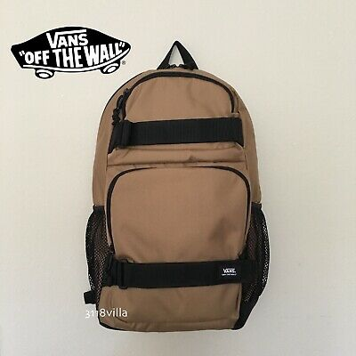 VANS Off the Wall Skates Pack Backpack with Skate Board Straps - Tan Khaki Black
