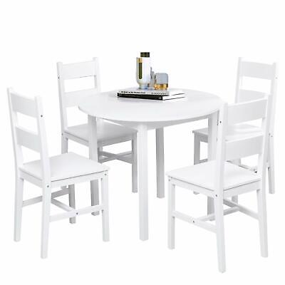 5-Piece Dining Table Set Solid Wood Round Table w/ 4 Chairs Home Furniture White