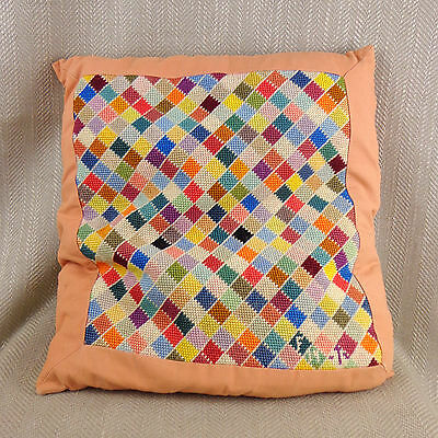 Vintage Needlepoint Cushion Pillow Hand Made Checkered Squares Embroidery