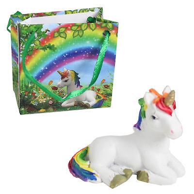 Enchanted Mini Rainbow Unicorn Figurine in a Gift Bag