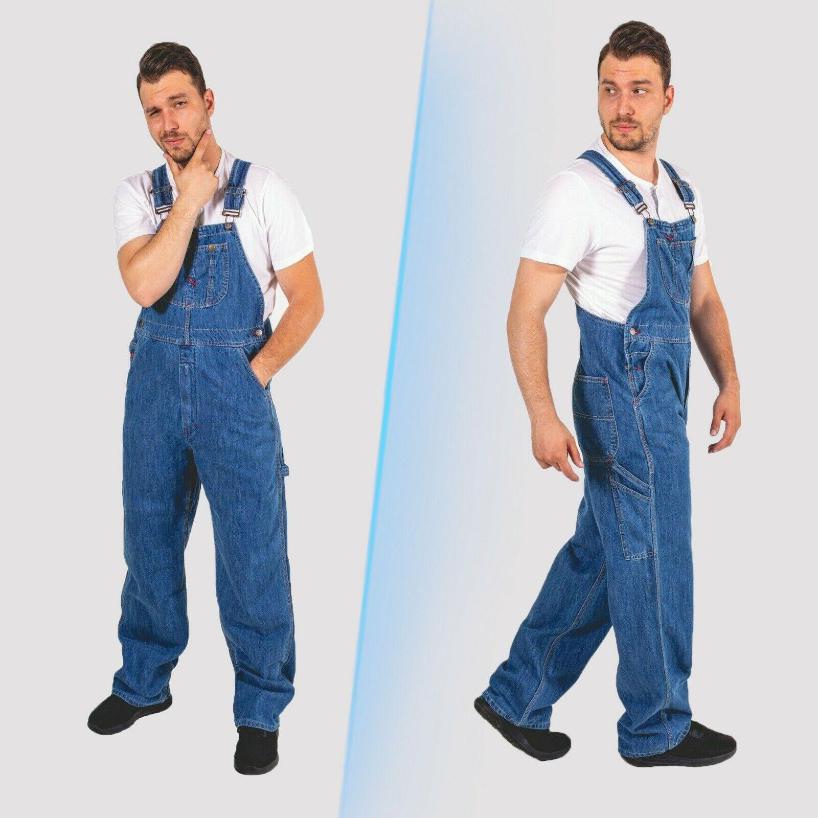 Men Denim Bib and Brace Overalls Painters Coveralls Pro Work Engineer Dungarees