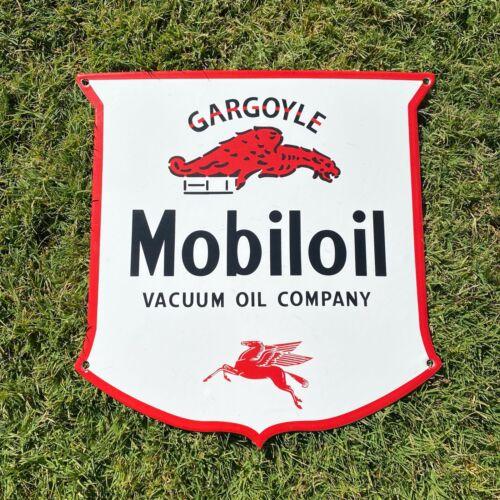 "VINTAGE MOBIL ""MOBILOIL GARGOYLE"" 12"" PORCELAIN METAL SHIELD GAS PUMP PLATE SIGN"