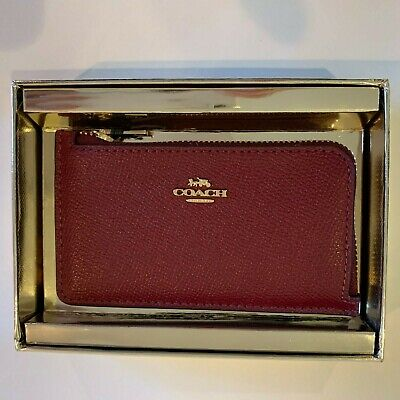 Coach Small L-Zip  Credit Card Case,wallet  Leather 78387B dark red $50