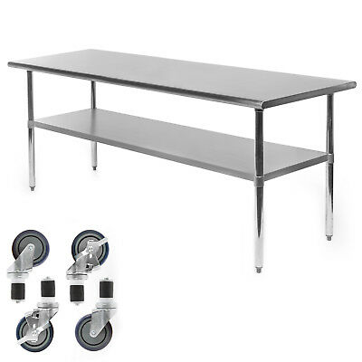 Commercial Stainless Steel Kitchen Food Prep Work Table W 4 Casters - 30 X 72