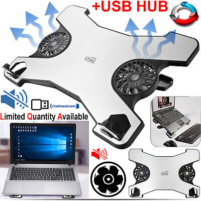 """X-Shape Laptop Cooling Adjustable Stand With 2 Fans and Hub 12 """" 15"""" USB Power"""