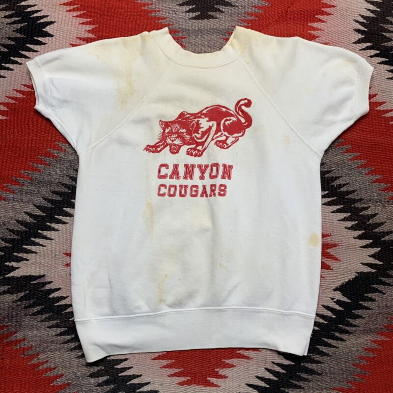 Vintage 1960s Short Sleeve Crewneck Sweatshirt Size M Artex Cougars Graphic